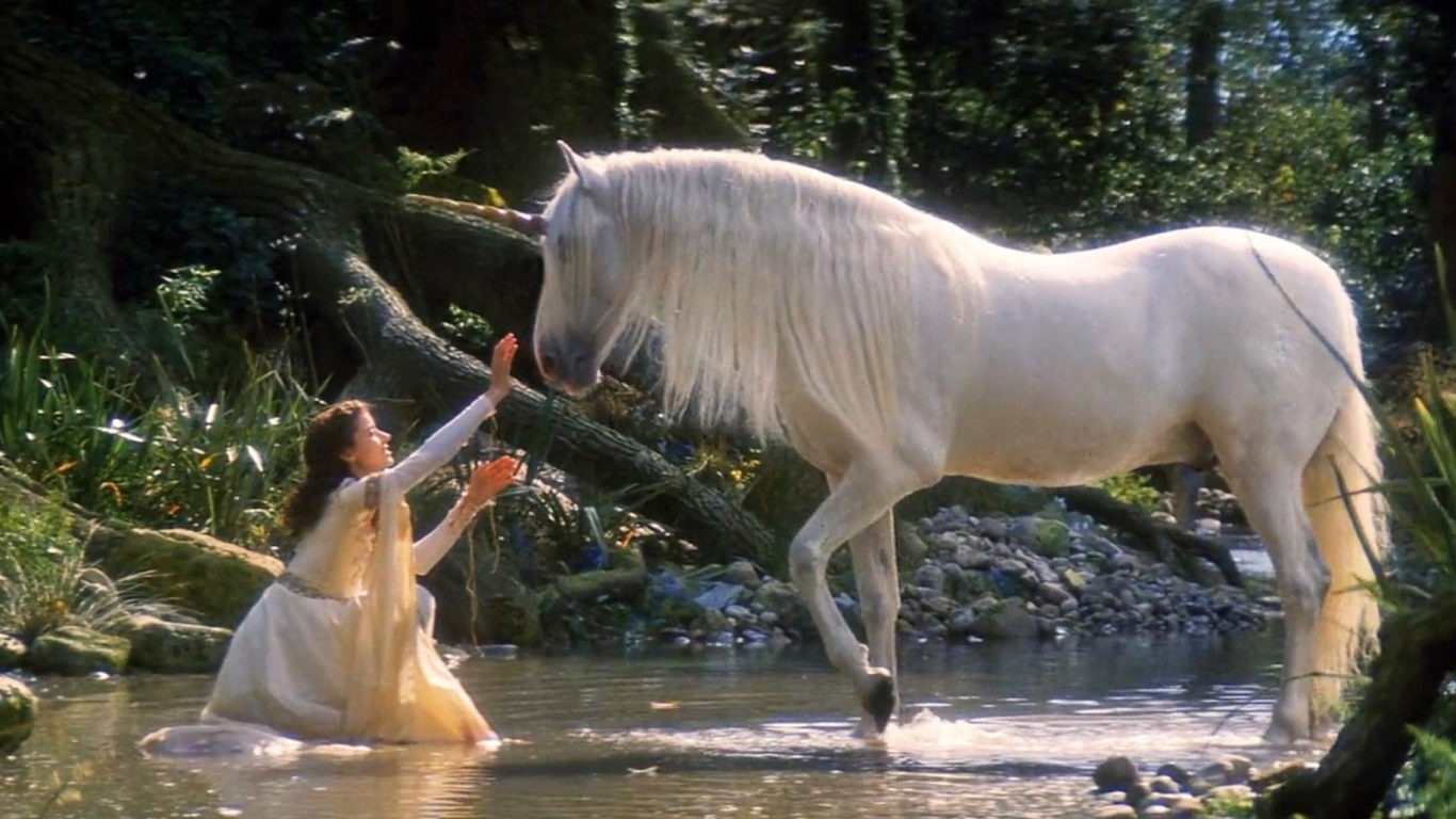 Waterfall Live Wallpaper Hd 3d Legends Of The Unicorn White Horse Girl And Horse Unicorn