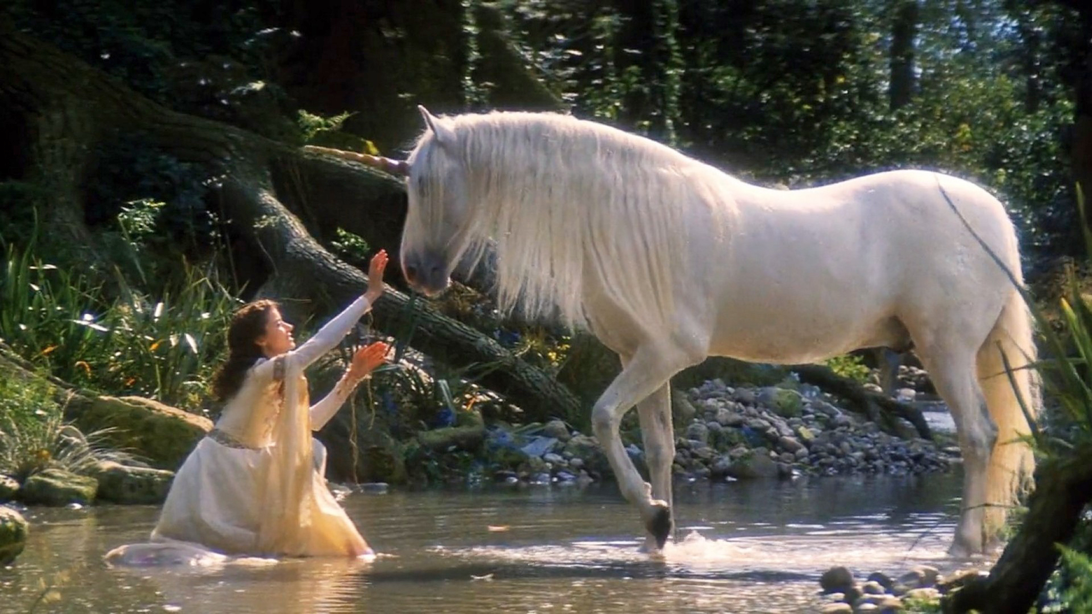 3d Waterfall Live Wallpaper Legends Of The Unicorn White Horse Girl And Horse Unicorn