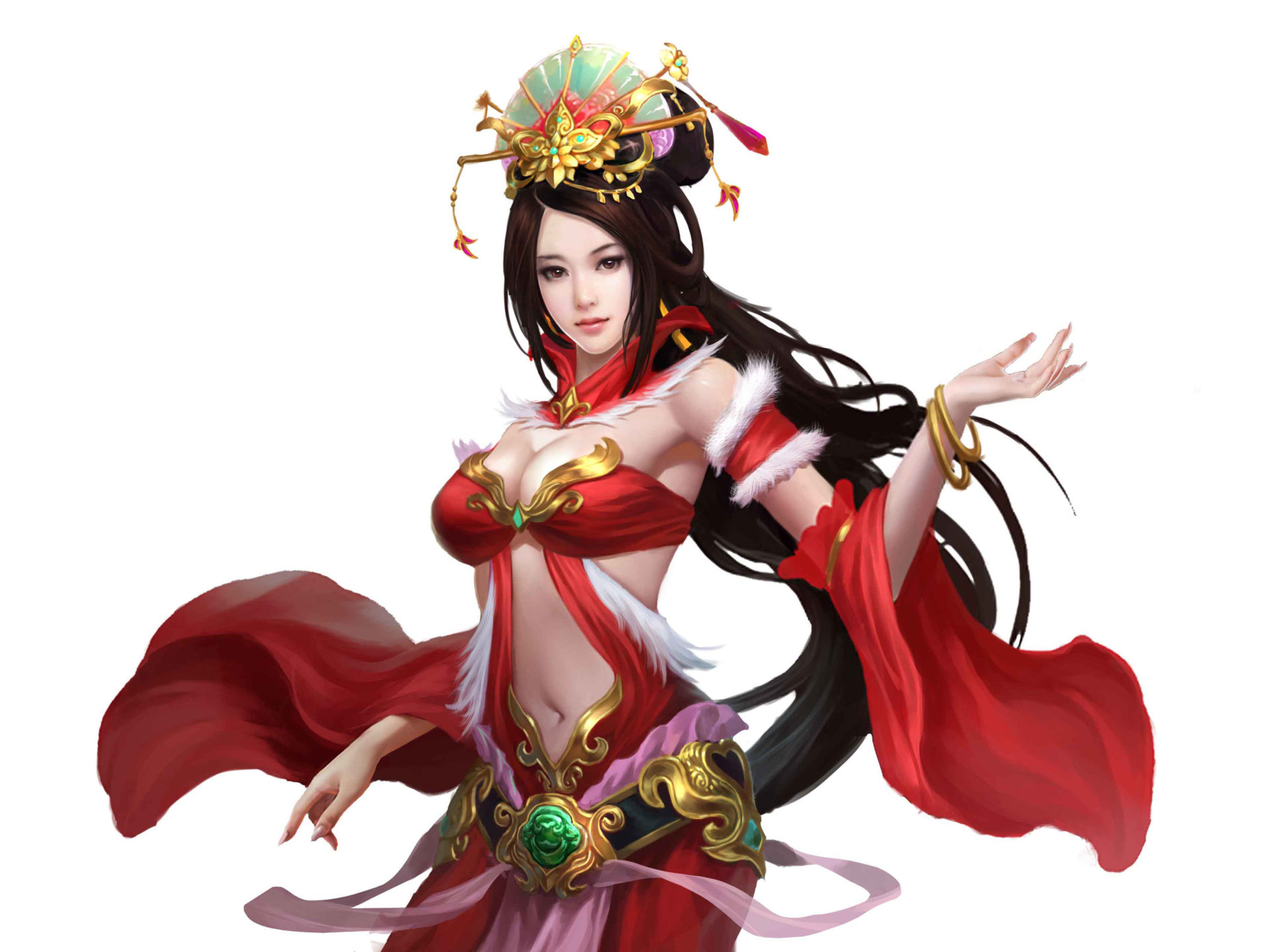 Dancing Girl Wallpapers For Mobile Phones Red Dragon Beautiful Oriental Girl Red Clothing