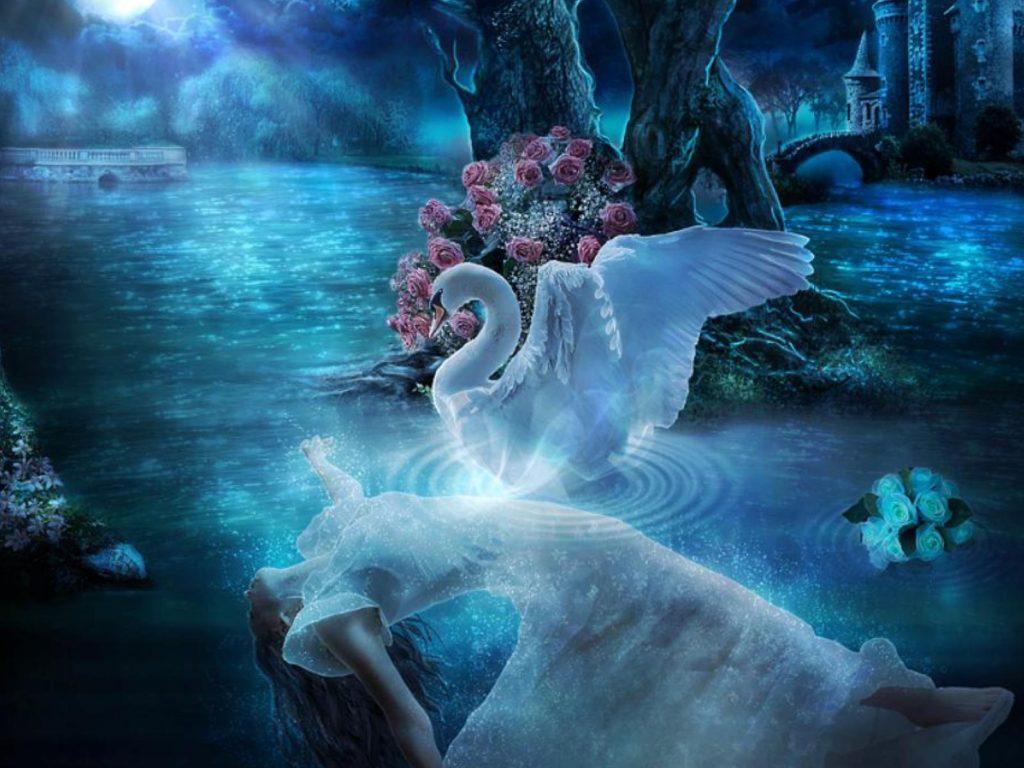 Beautiful Girl X1080 Swan Lake Night Blue Moon Flower Lady Desktop Wallpaper Hd