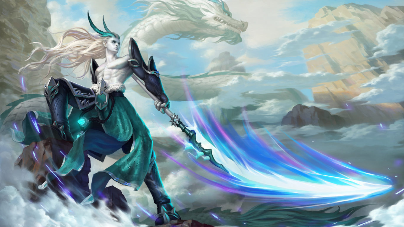 Beautiful Chinese Girl Paintings Widescreen Wallpaper The Small White Dragon Bell Warrior With Spear Armor Horns