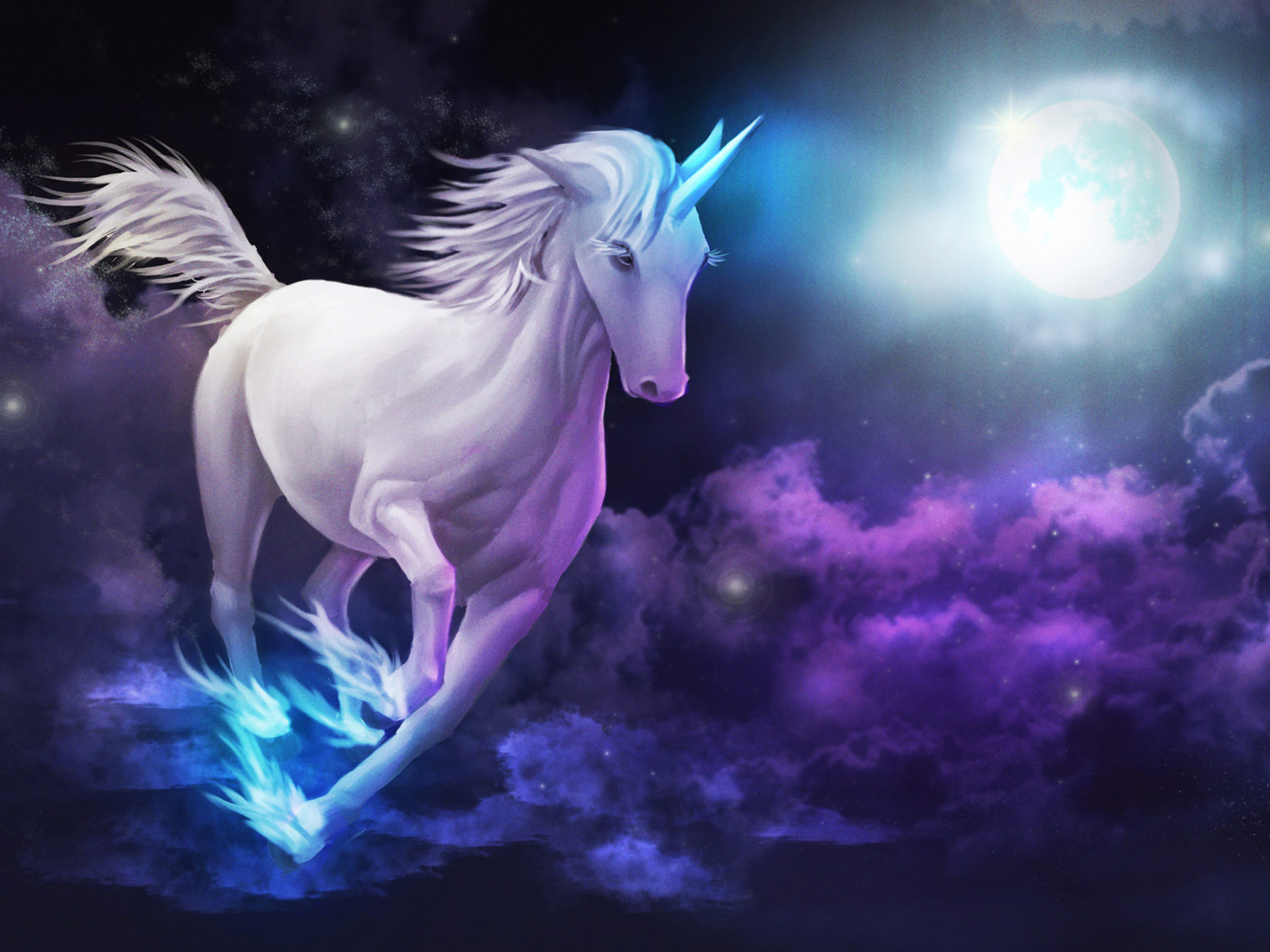 How To Get 3d Wallpaper Iphone Unicorn Galloping Sky Clouds Full Moon Desktop Wallpaper