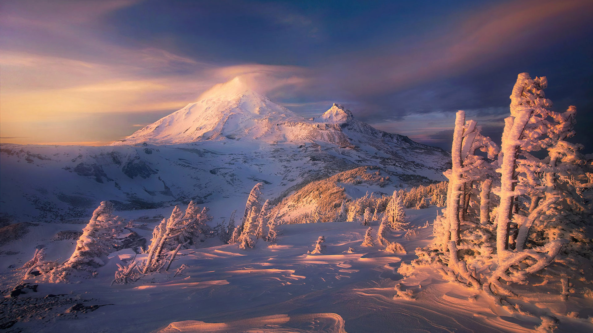 Fall Wallpaper For Android Tablet Winter Landscape Blackout Mountains With Snow Three