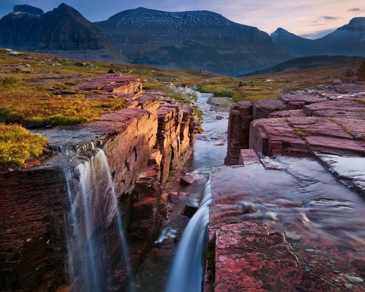 Fall Wallpaper Themes Glacier National Park Montana Triple Falls Coast Red Rock