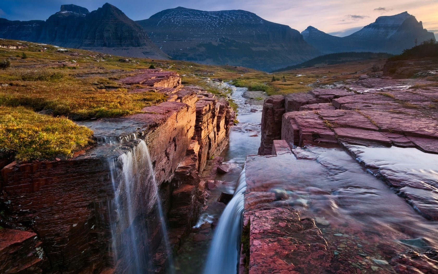 Hd Wallpapers For Laptop 15 6 Inch Screen Glacier National Park Montana Triple Falls Coast Red Rock