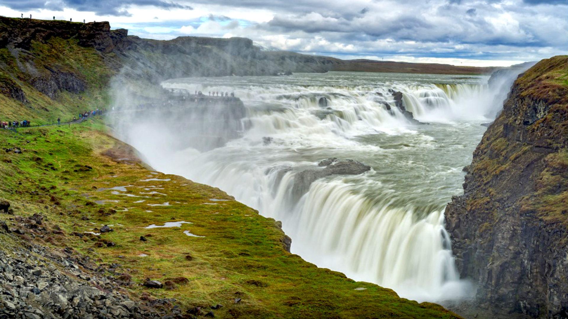 Free Wallpaper Fall 1600x900 Gullfoss Waterfall In Iceland Desktop Wallpaper Hd