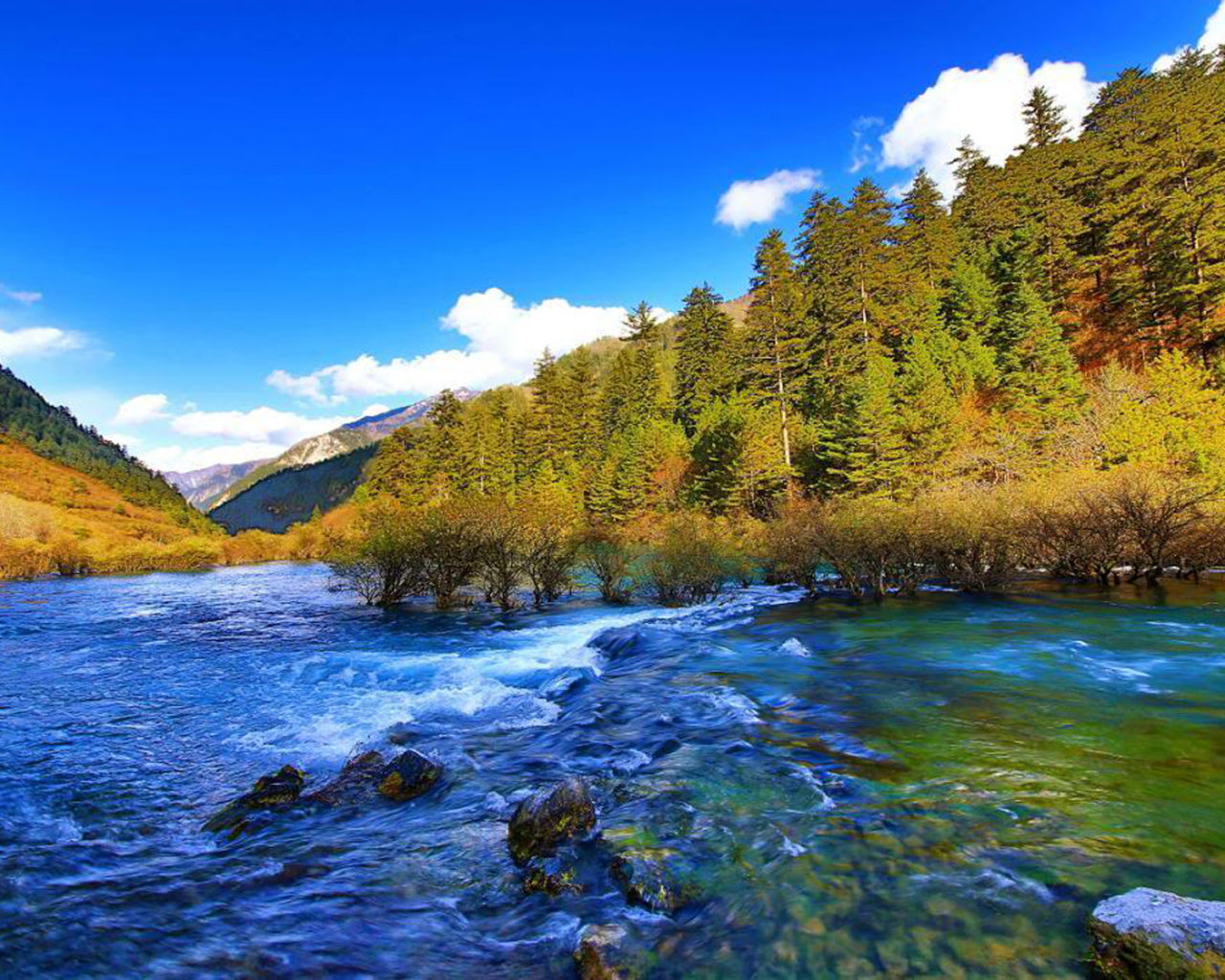 Fall Screen Wallpaper Jiuzhai Valley National Park Jiuzhaigou China Mountain