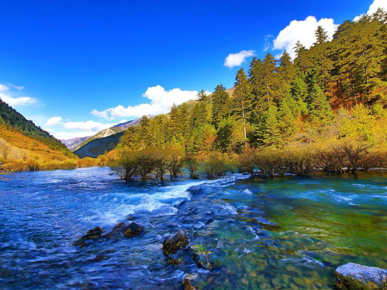 Free Fall Desktop Wallpaper Jiuzhai Valley National Park Jiuzhaigou China Mountain