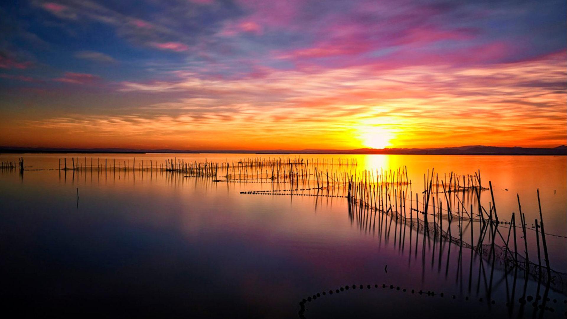 Iphone Pretty Wallpaper Magical Sunset Albufera Lake Hd Wallpaper Download For