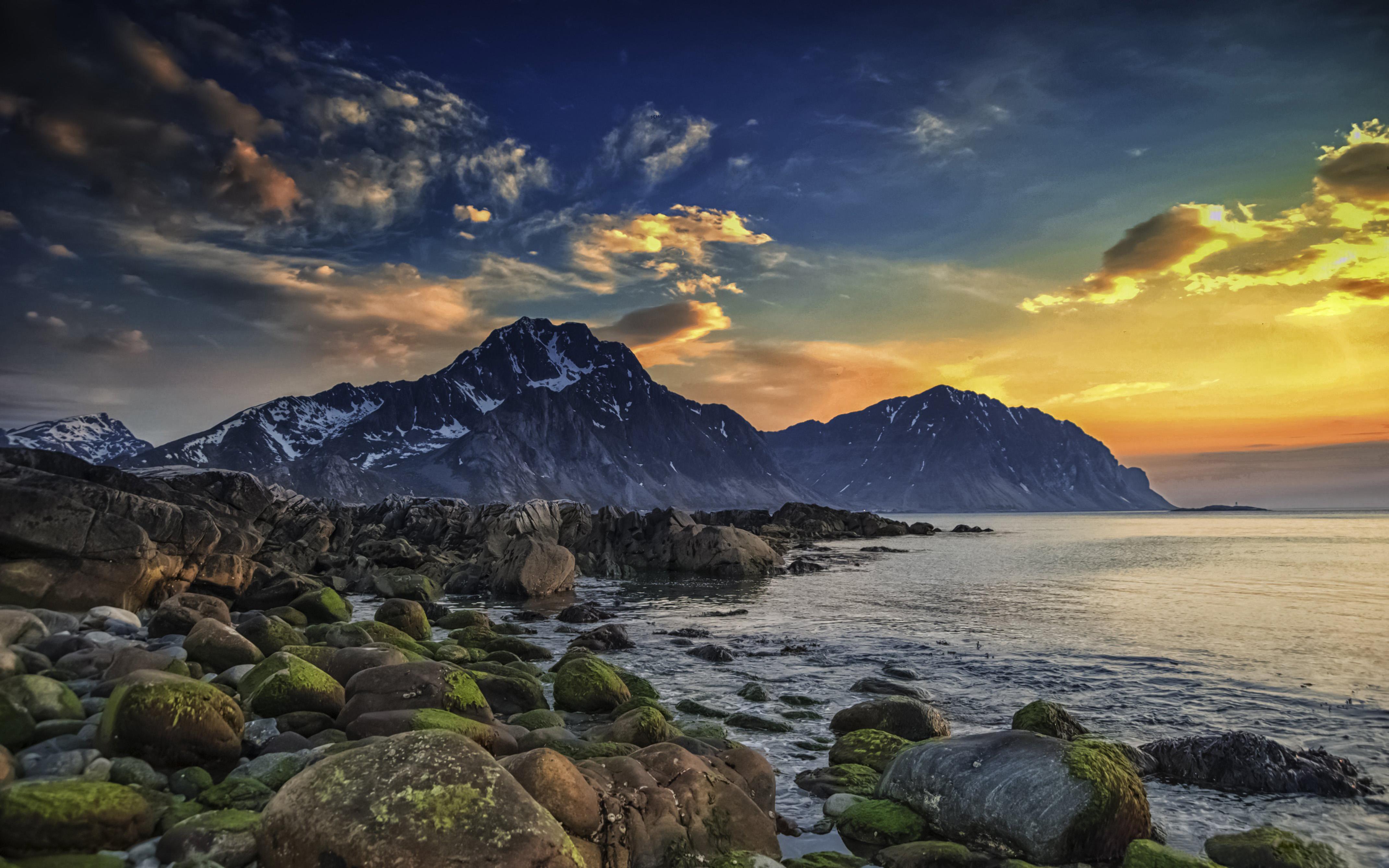 3d Christmas Live Wallpaper For Windows Spring Sea Islands Lofoten Mountain Boulders Seashore Sky