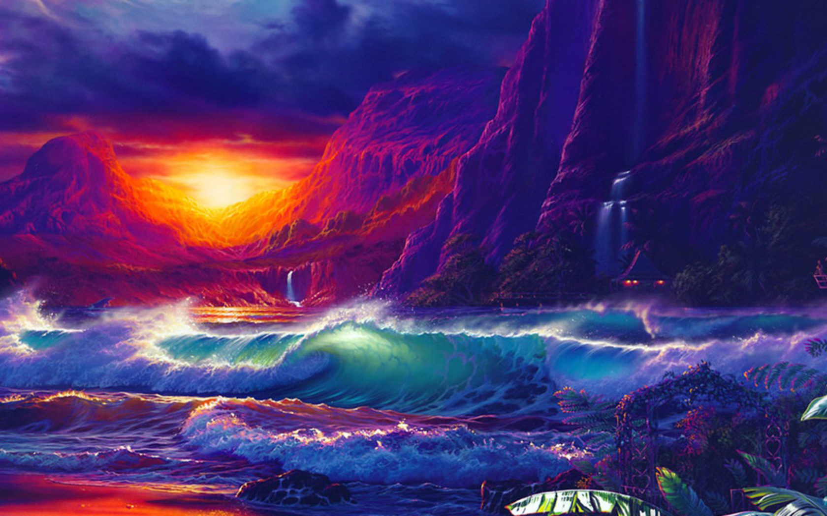 Butterfly Wallpaper For Desktop With Animation Sunset Orange Sky Dark Cloud Sea Waves Of The Sea Rocky