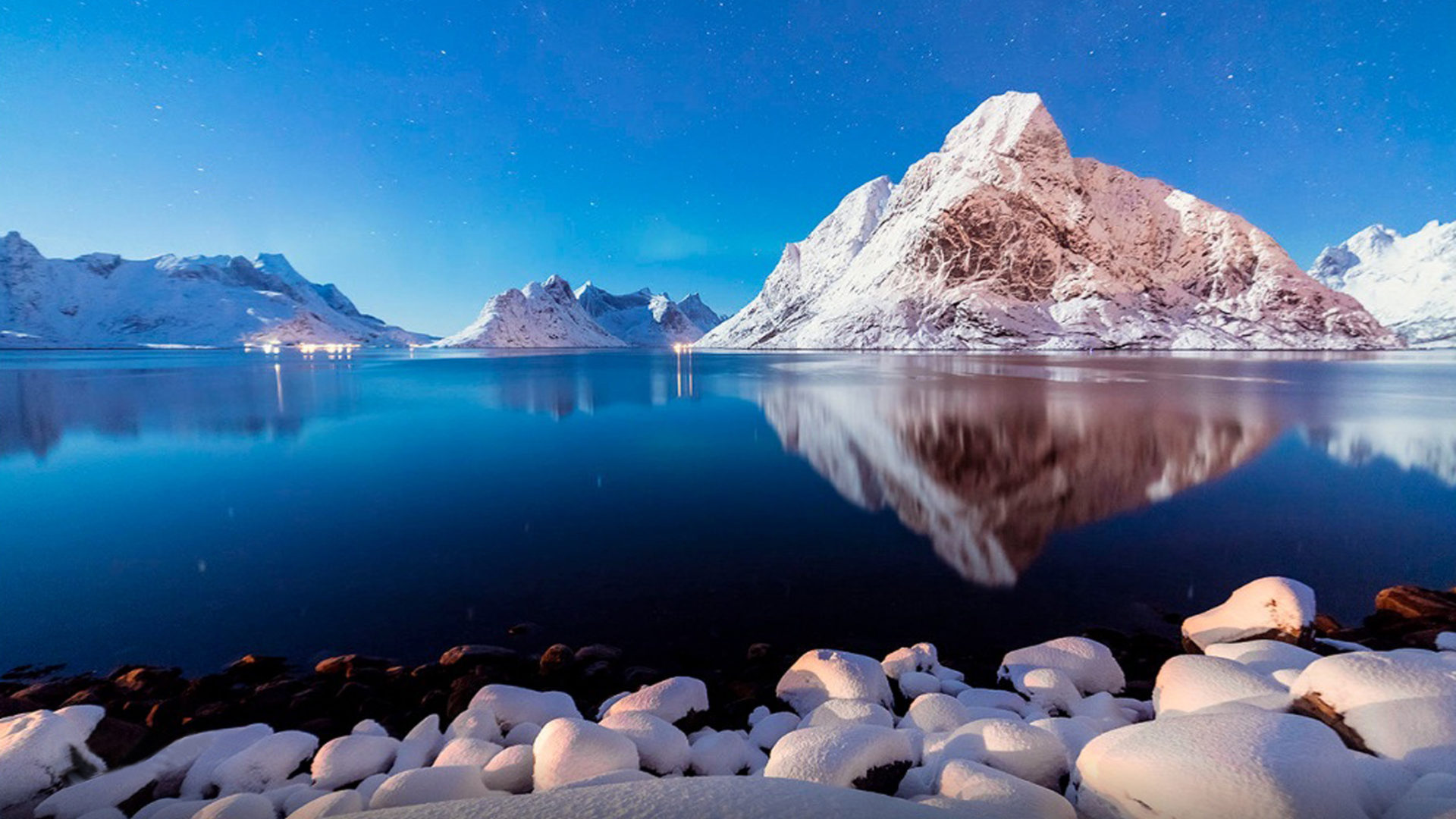 Fall Winter Background Wallpaper Winter Peaceful Lake Shore Stones Snow Mountains Blue