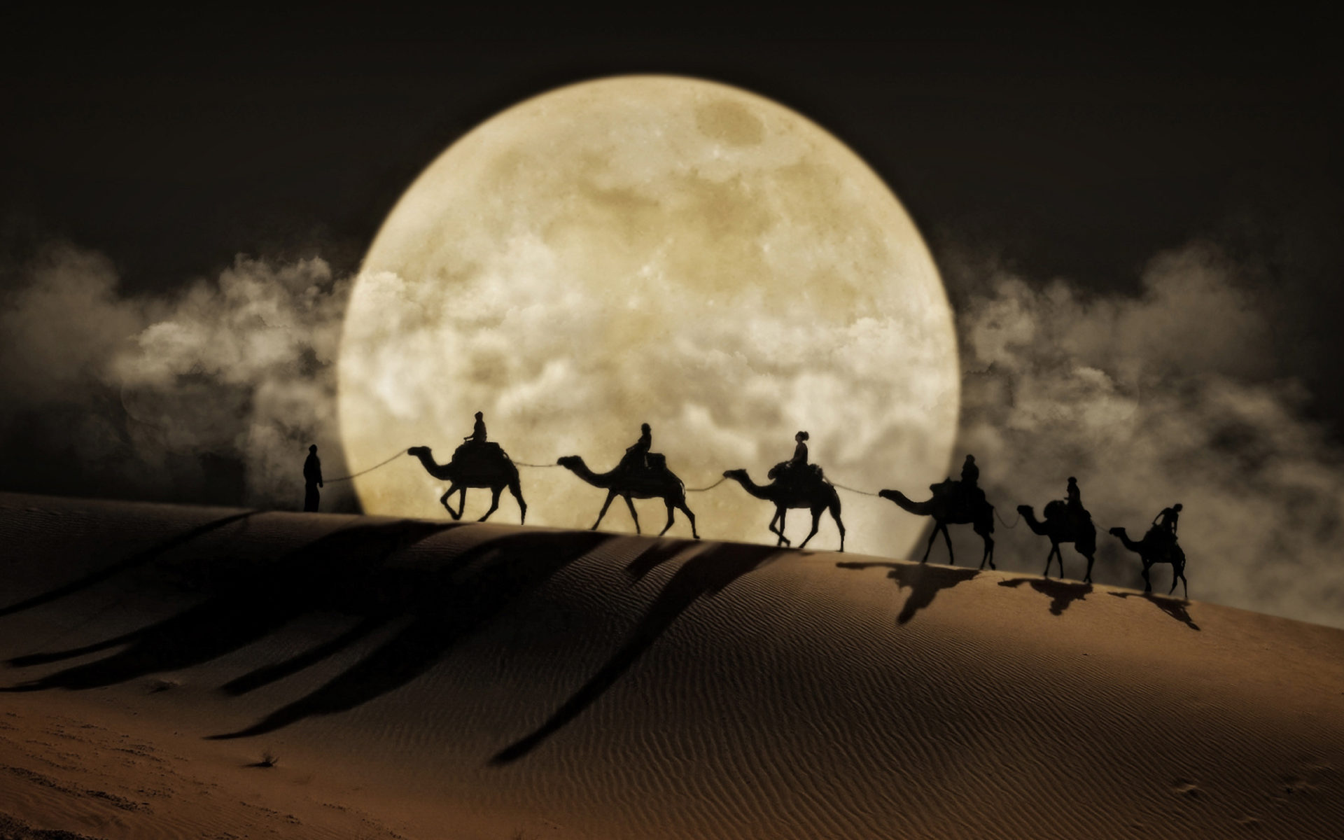 3d Wallpapers Desktop Free Download Animation Windows 7 Desert Moon Camel Art Desktop Wallpaper Hd For Mobile