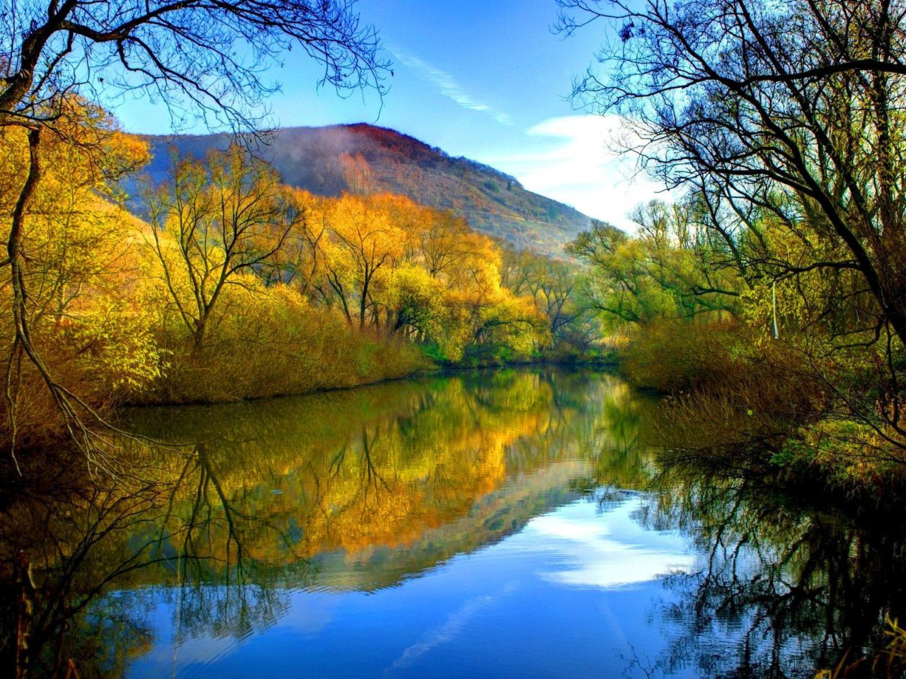 Fall Pc Wallpaper Free Fall River Peaceful Water Willow With Yellow Leaves Blue