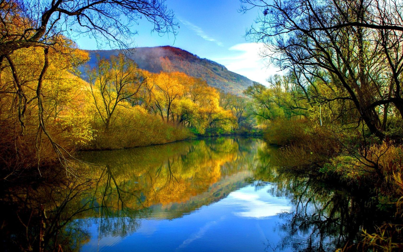 Snow Falling Wallpaper For Iphone Fall River Peaceful Water Willow With Yellow Leaves Blue