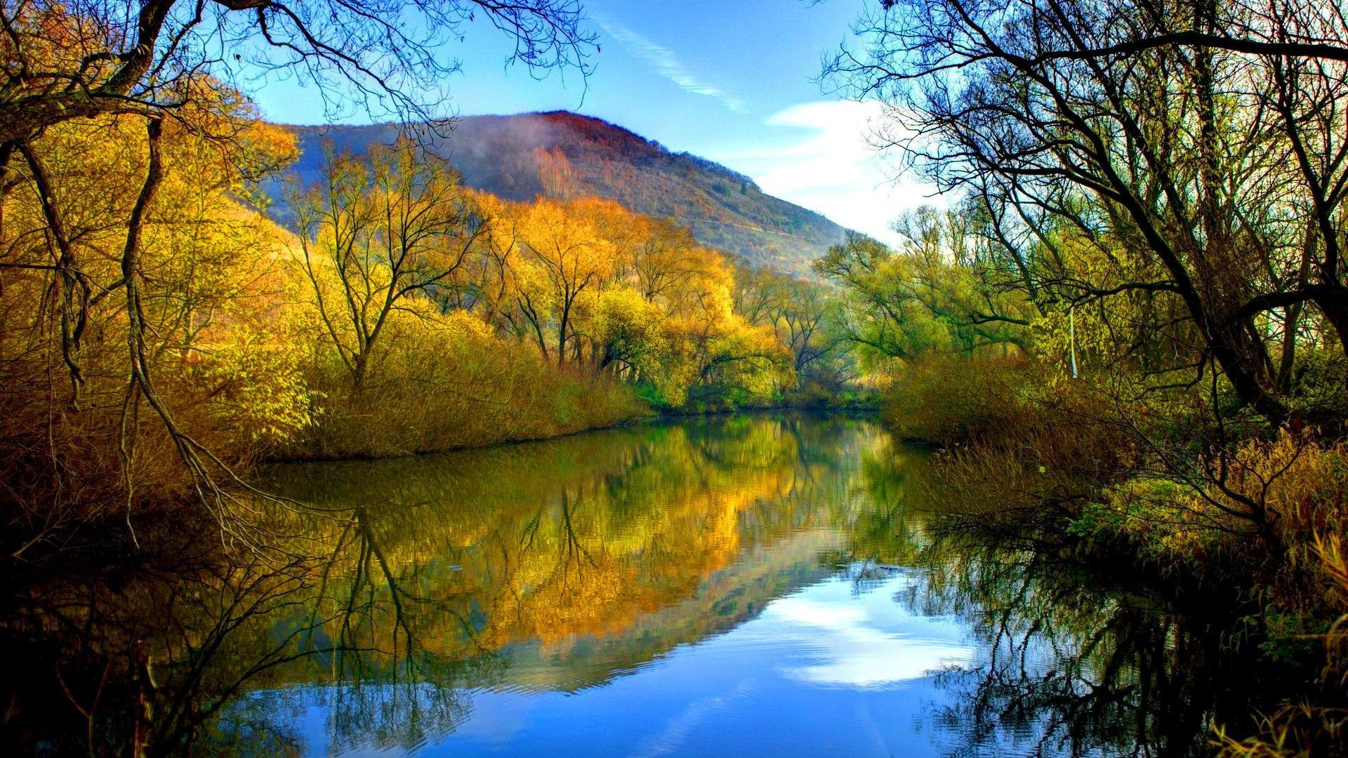 Fall Autumn Hd Wallpaper 1920x1080 Fall River Peaceful Water Willow With Yellow Leaves Blue