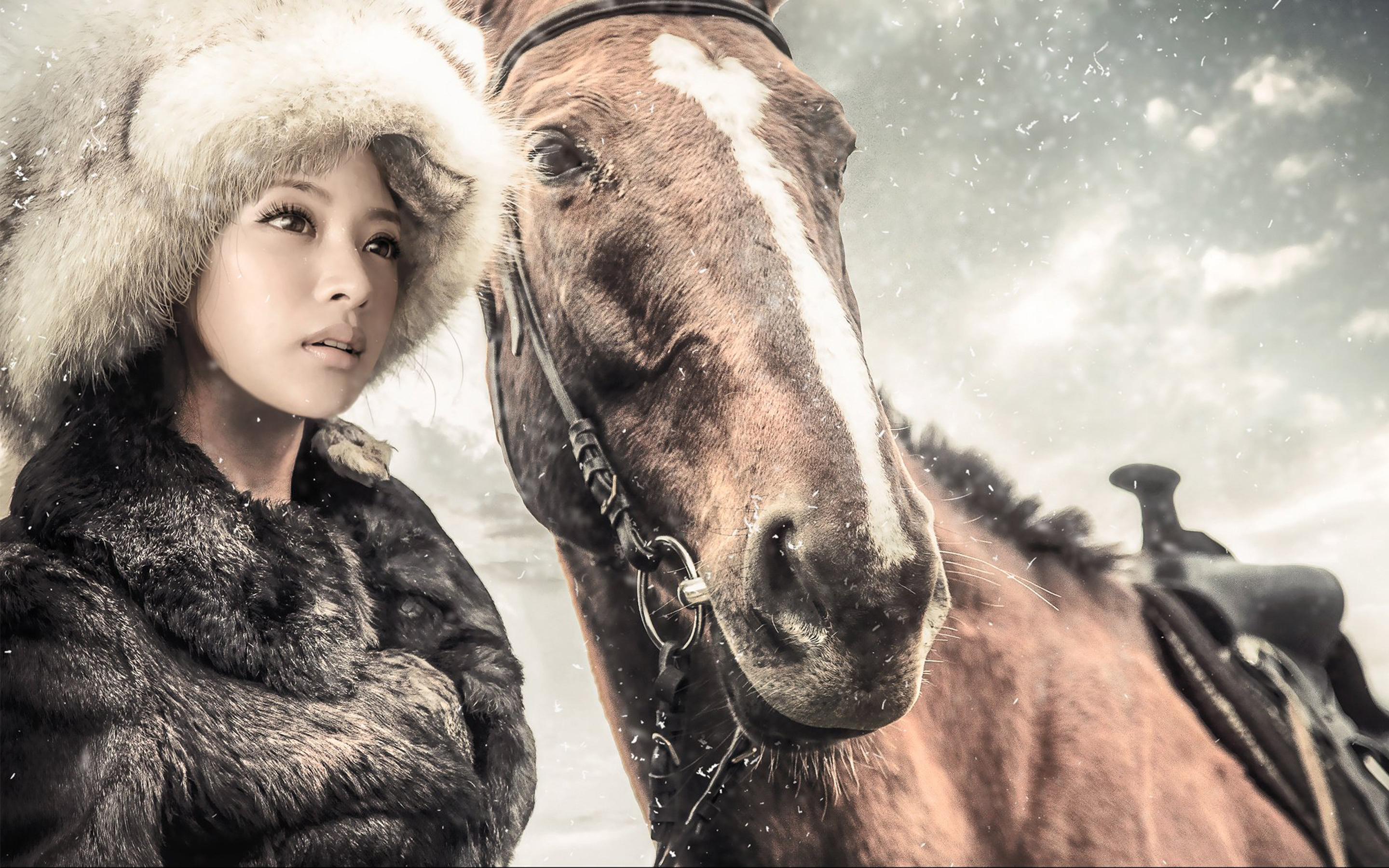 Cute Lock Screen Wallpapers For Iphone Girl And Horse Winter Snow Coat And Hat Of Fur Full Hd