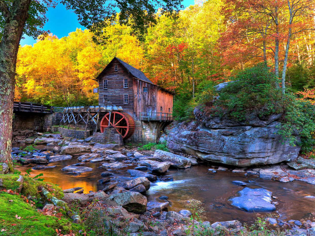 Fall Woodsy Pc Wallpaper Old Wooden Mill Glade Creek Grist Mill In Abcock State