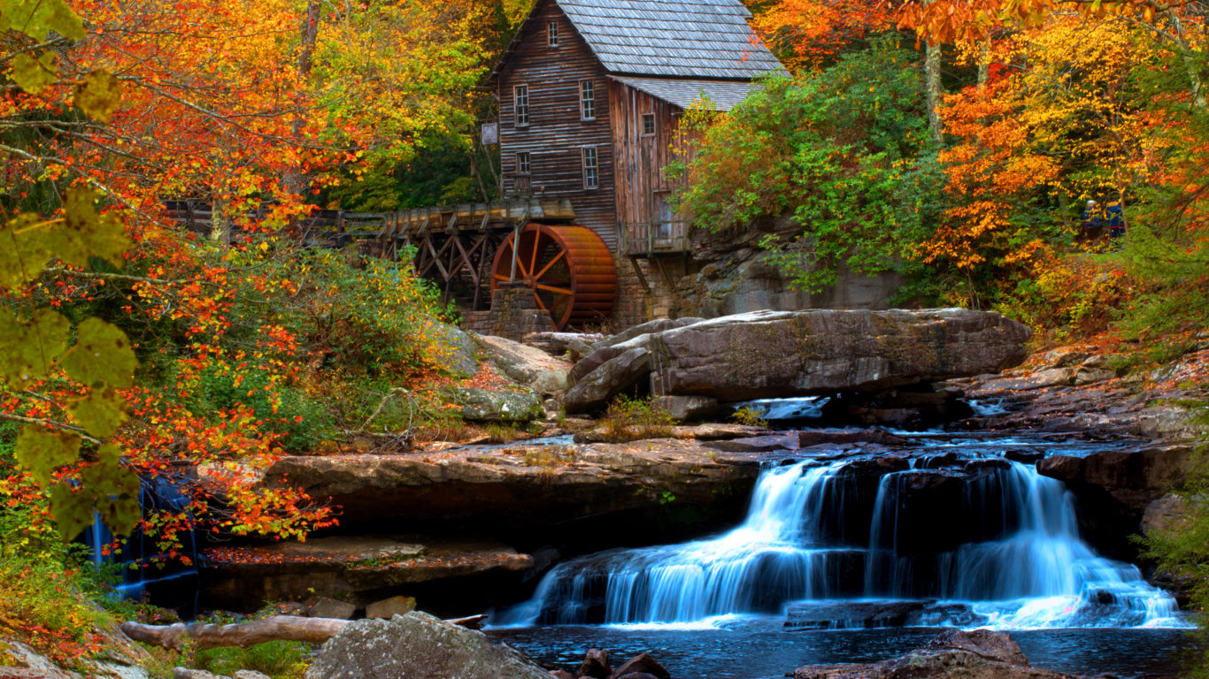 Thomas Kinkade Fall Wallpaper Old Wooden Mill Water Flow Rock Waterfall Hd Wallpaper For