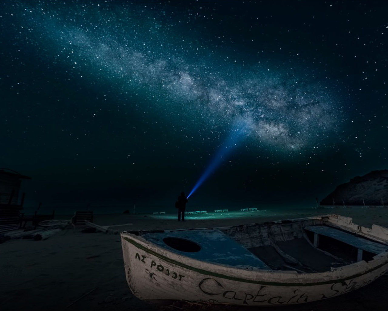 Beautiful 3d Wallpaper For Android Sandy Beach At Night Time Boat Sky Star Digital Art