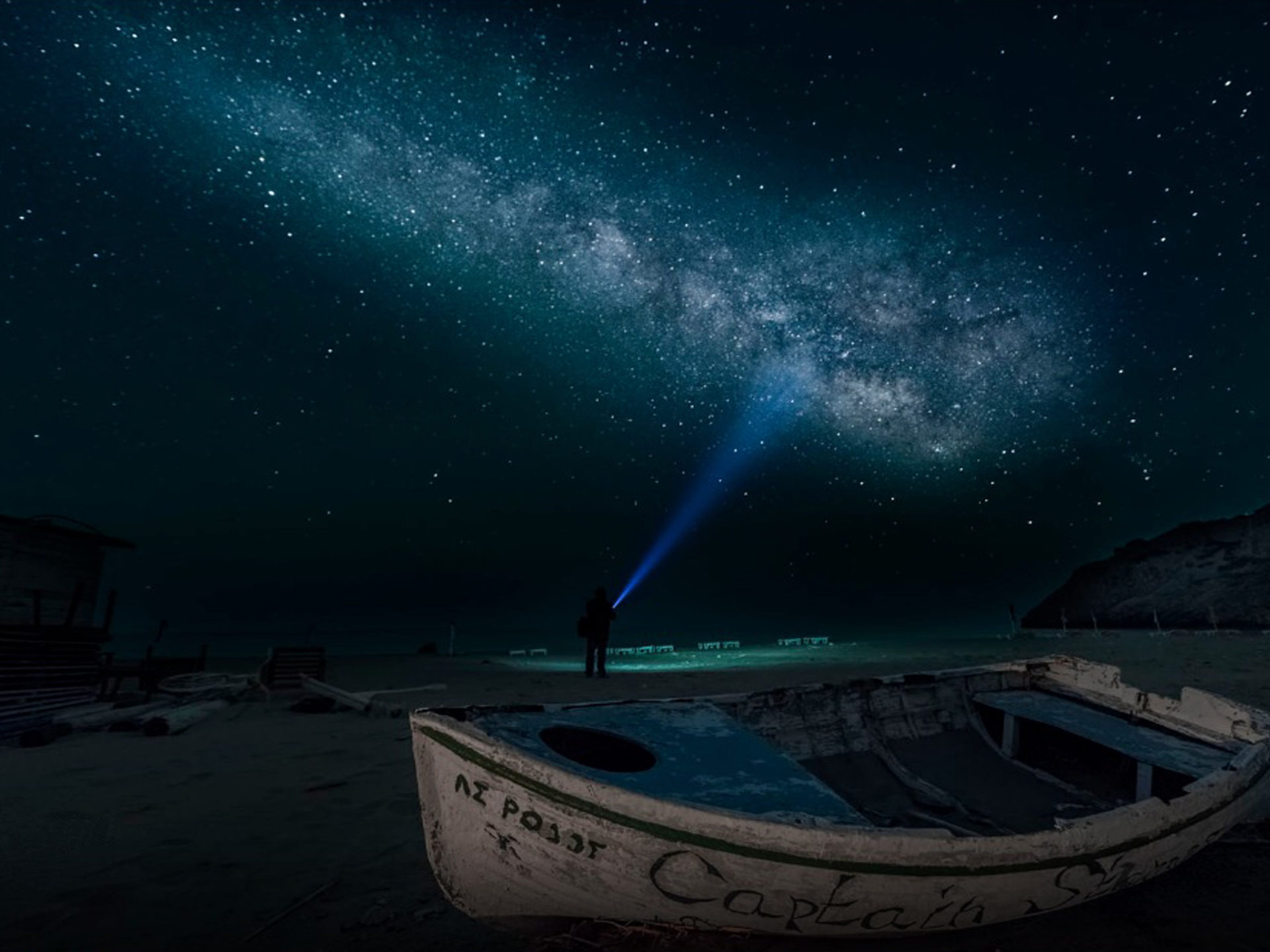 Free Hd Wallpaper For Desktop Background Sandy Beach At Night Time Boat Sky Star Digital Art