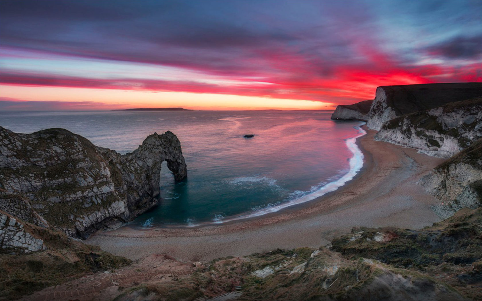 Superb Wallpapers Hd Sea Shore Sky In Flame Nice Red Sunset Over Durdle Door