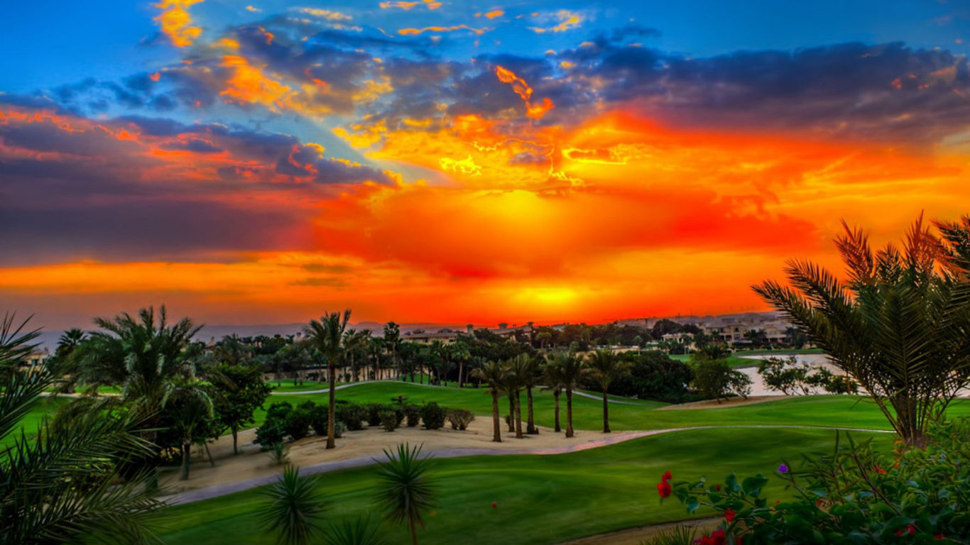 Desktop Wallpaper Fall Scenes Sunset Katameya Heights Golf And Tennis Resort Hd Desktop