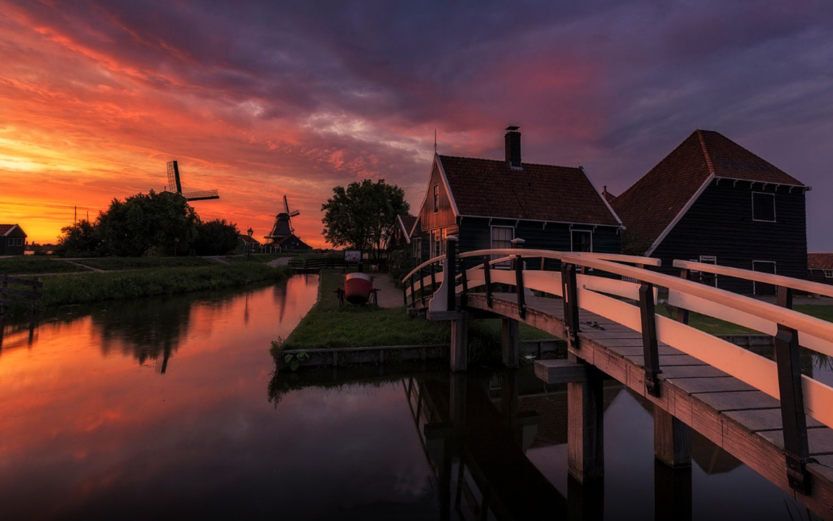 Wallpaper Amazing Cars Sunset Farm In Netherlands House And Wooden Bridge Channel