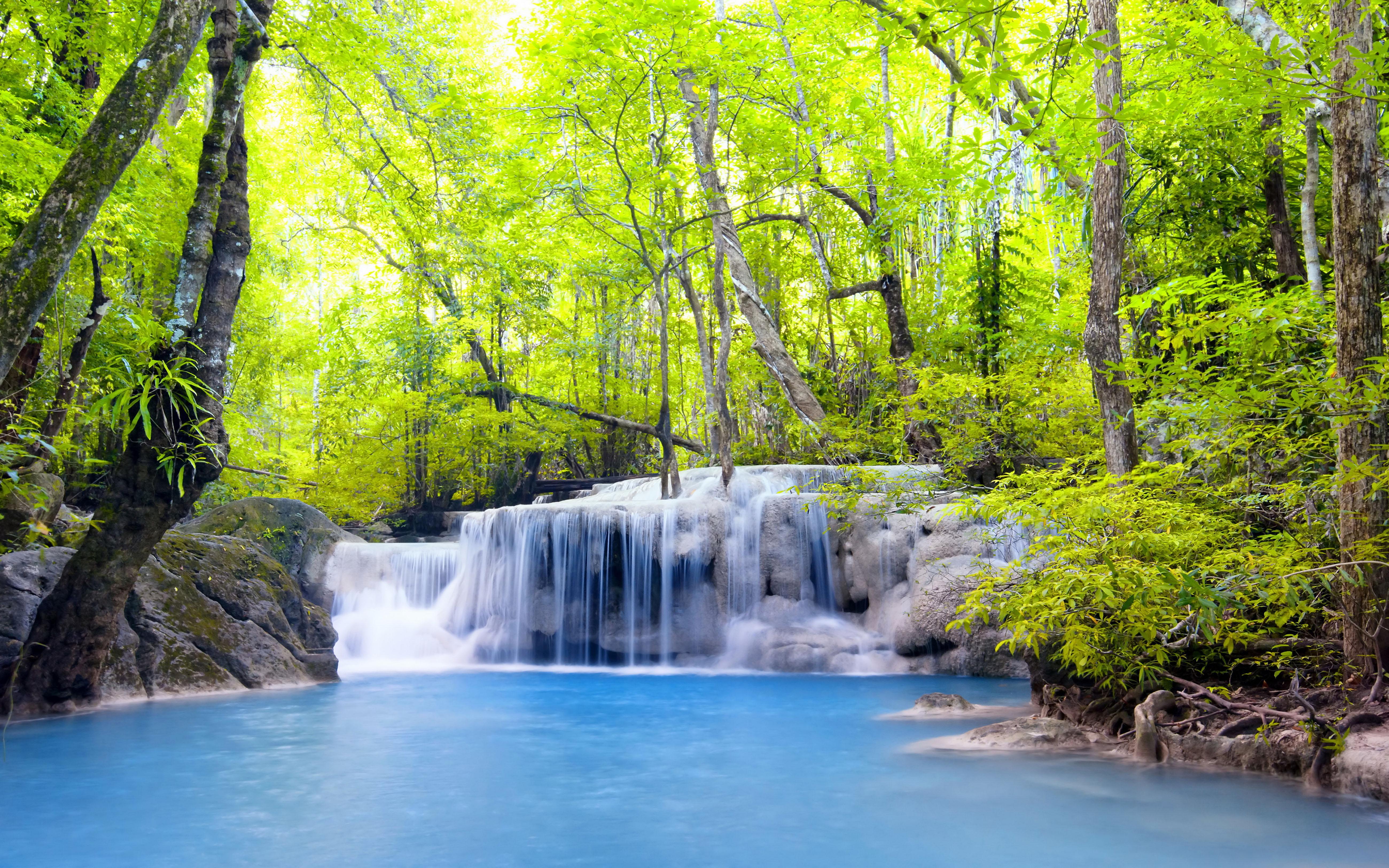 Kuang Si Falls Hd Wallpaper Beautiful Nature Erawan Waterfall In Thailand Hd Wallpaper