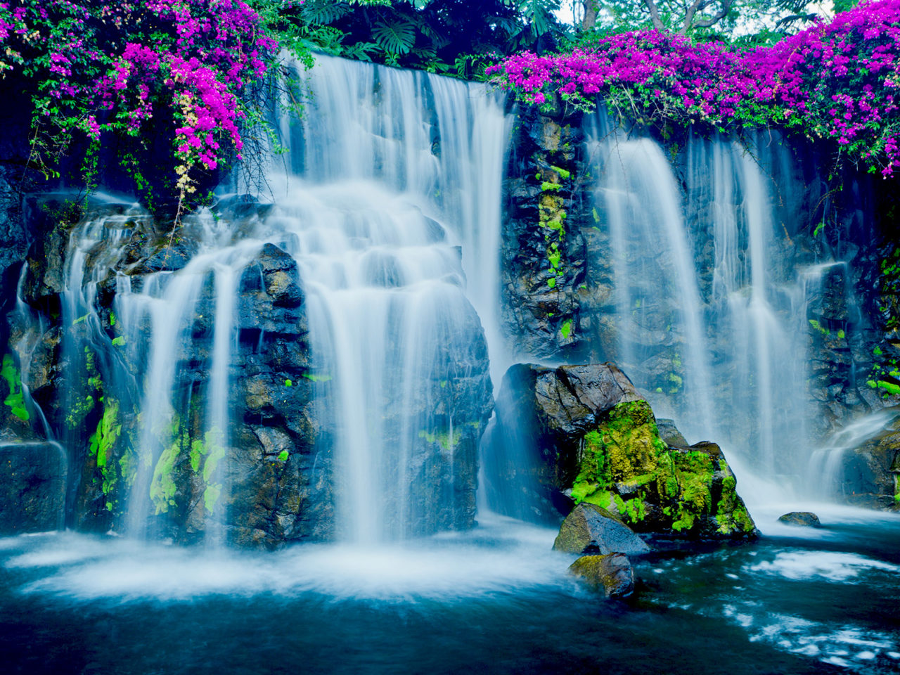 Pink Fall Wallpaper Beautiful Blue Waterfall In Hawaii Wallpapers13 Com