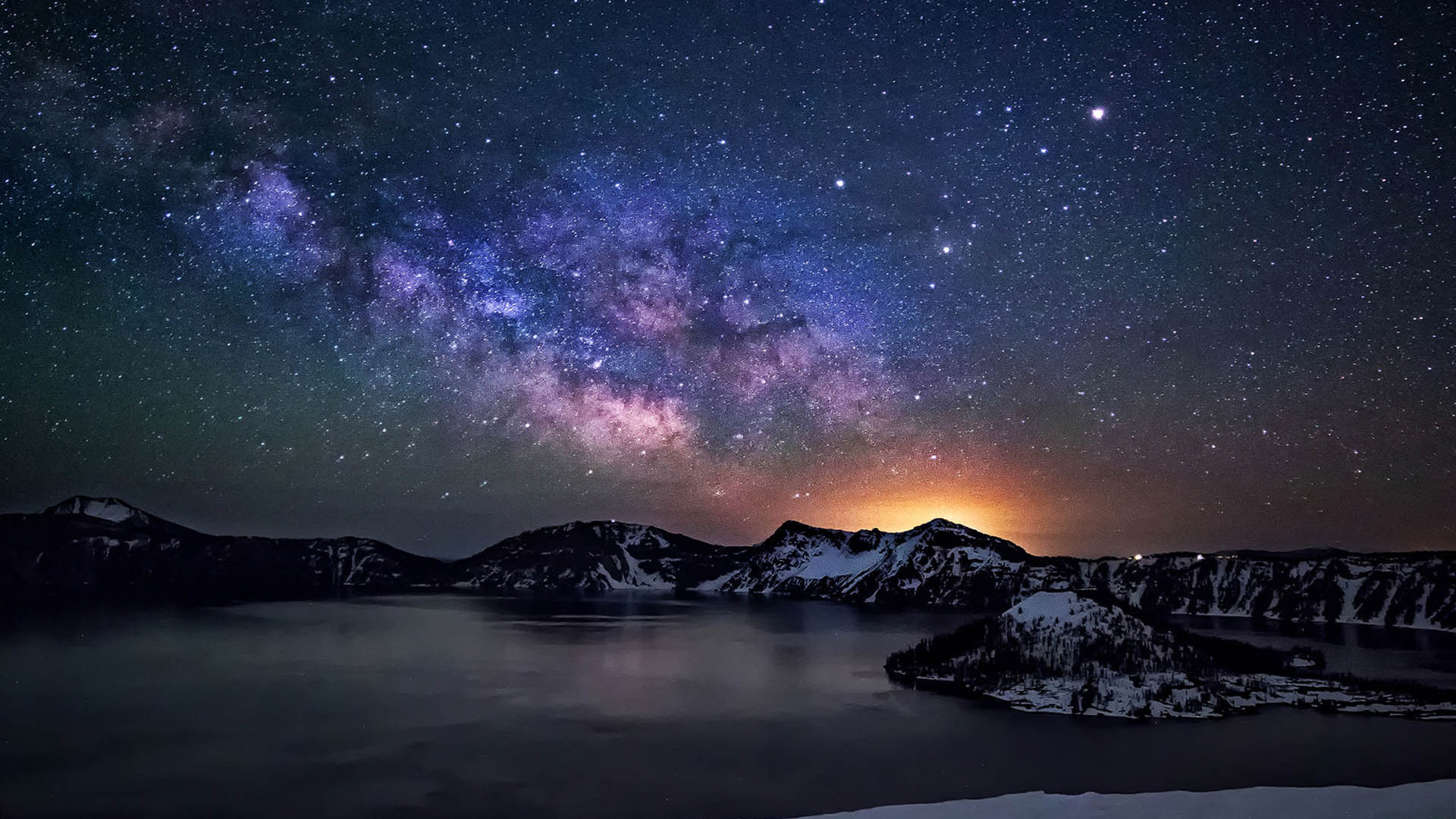 Fall Wallpaper Iphone 4 Crater Lake Night Sky With Star Milkyway Desktop Wallpaper