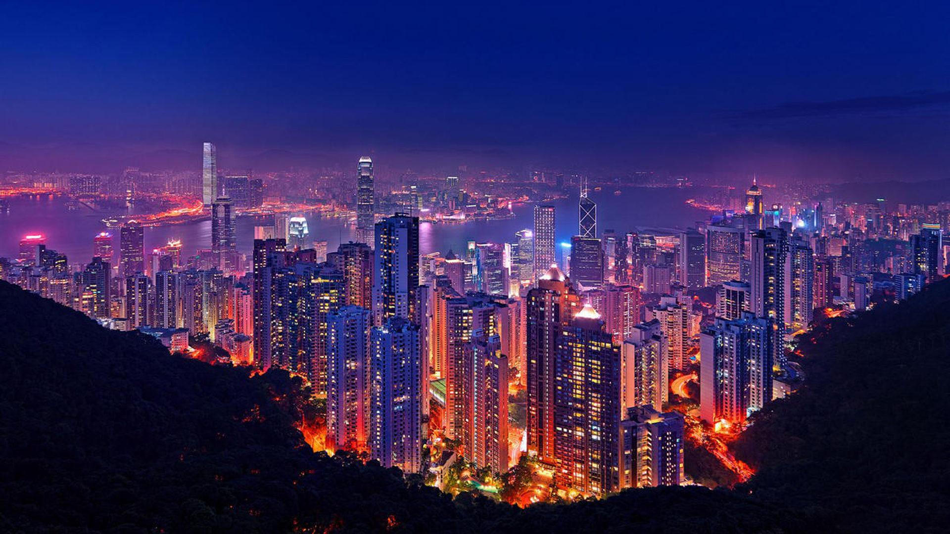 Hong Kong Iphone X Wallpaper Hong Kong At Night Lighting Buildings Skyscrapers Port