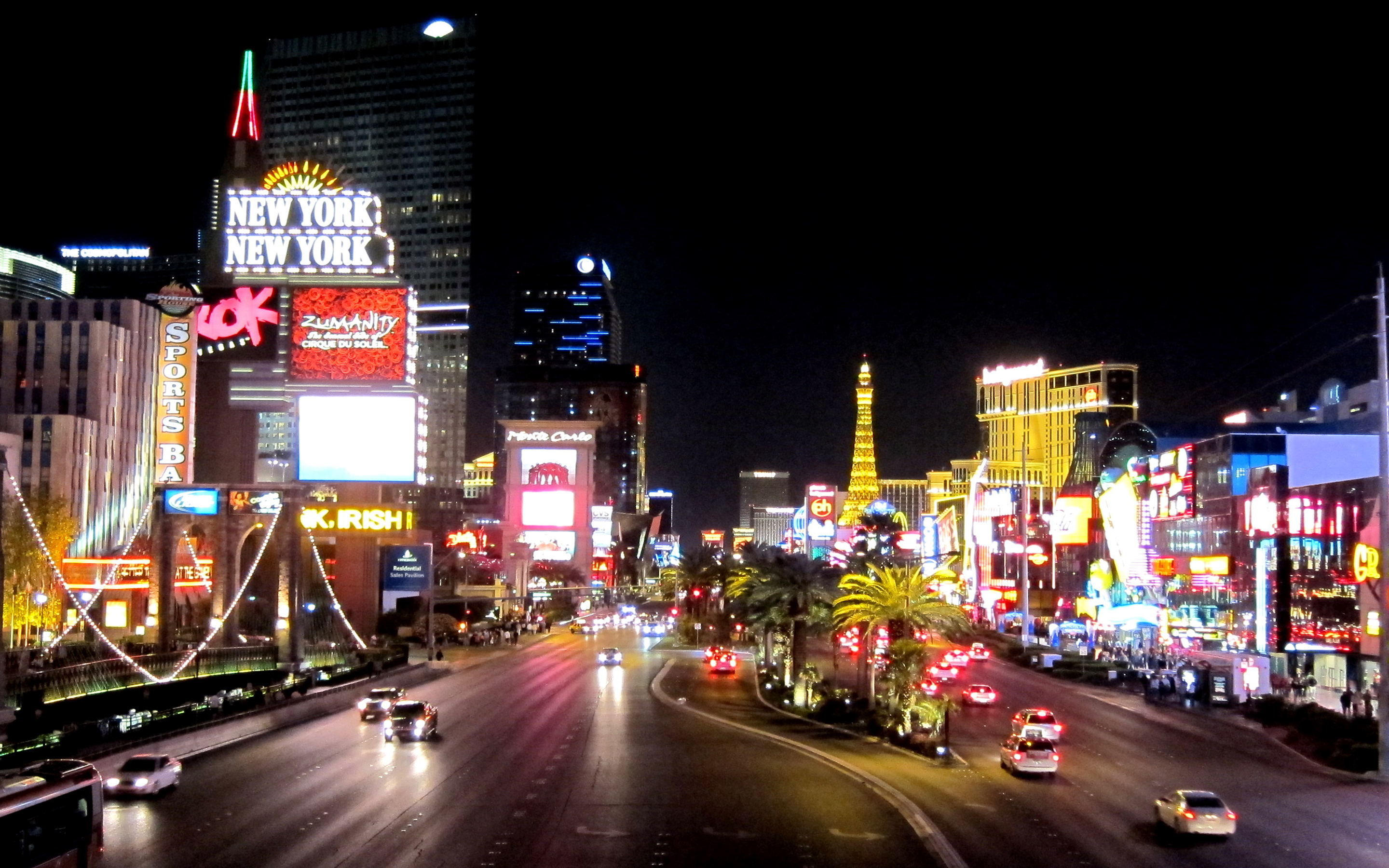 3d Street Wallpaper Las Vegas Night Photography Street Lights Buildings With