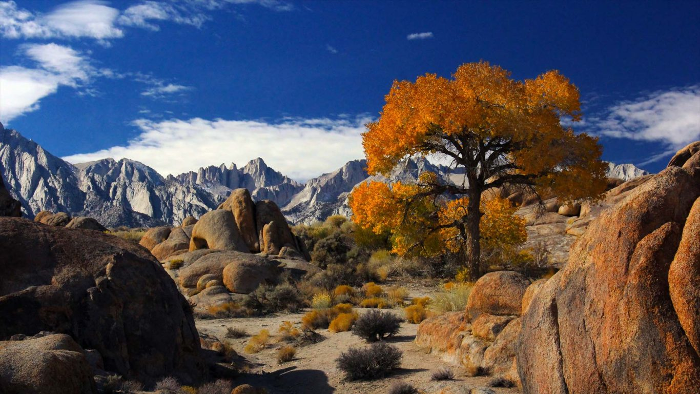 Fall Church Pictures Free Wallpaper Autumn In Alabama Hills With Mount Whitney The Highest