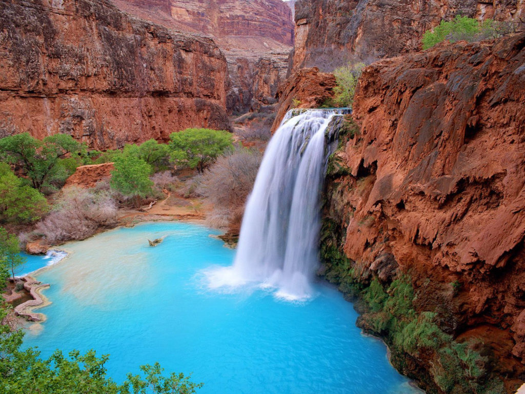 Colorado Fall Wallpaper Grand Canyon Arizona Usa Havasu Falls Blue Green Waters