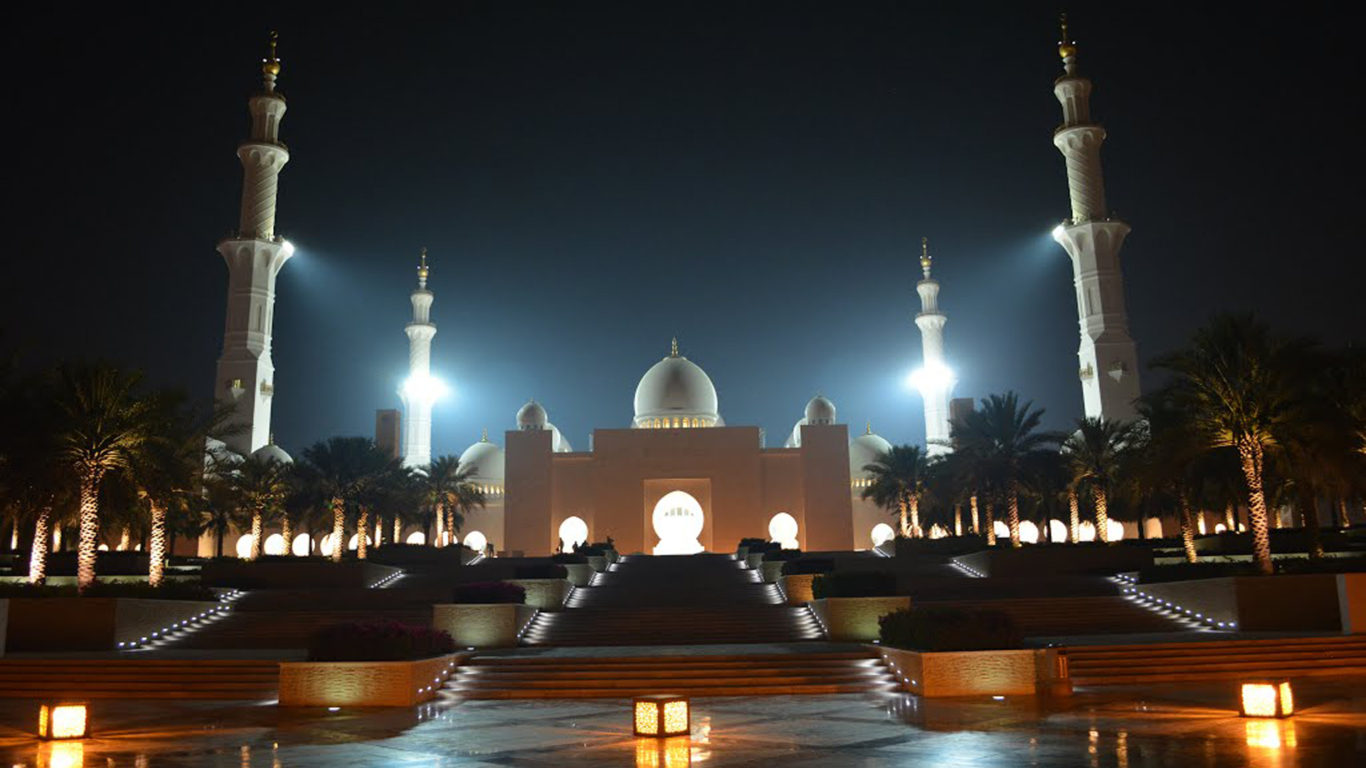 Marble Wallpaper With Quotes For Desktop Grand Mosque Sheikh Zayed In Abu Dhabi Night Lighting Hd