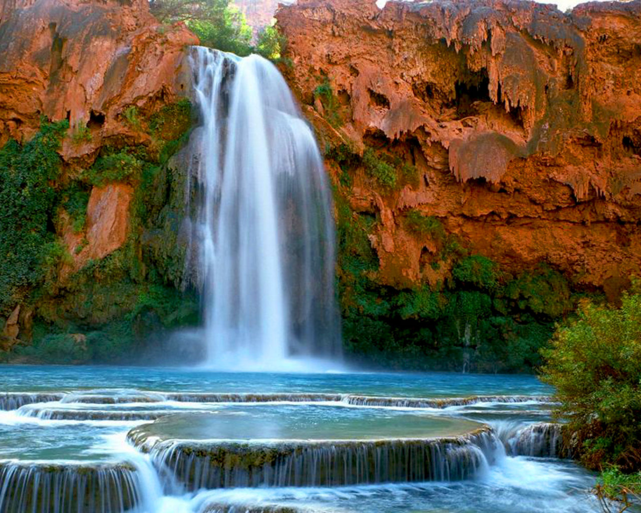 Water Fall Wallpaper Hd For Desktop Free Download Havasu Falls Havasupai Arizona U S Desktop Hd Wallpaper