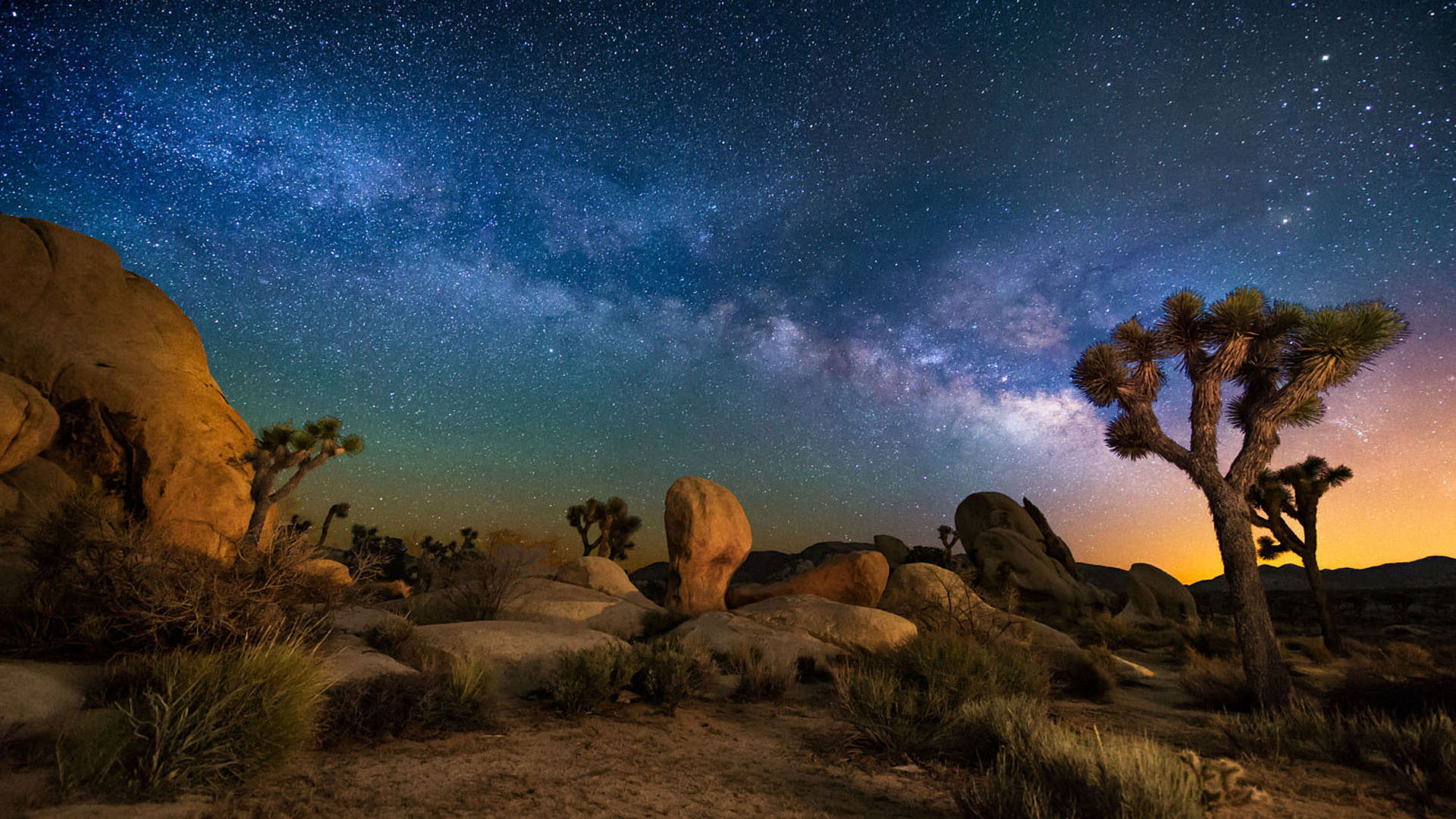 Clear Wallpaper Iphone X Starry Sky Desert Area Night In Joshua Tree National Park