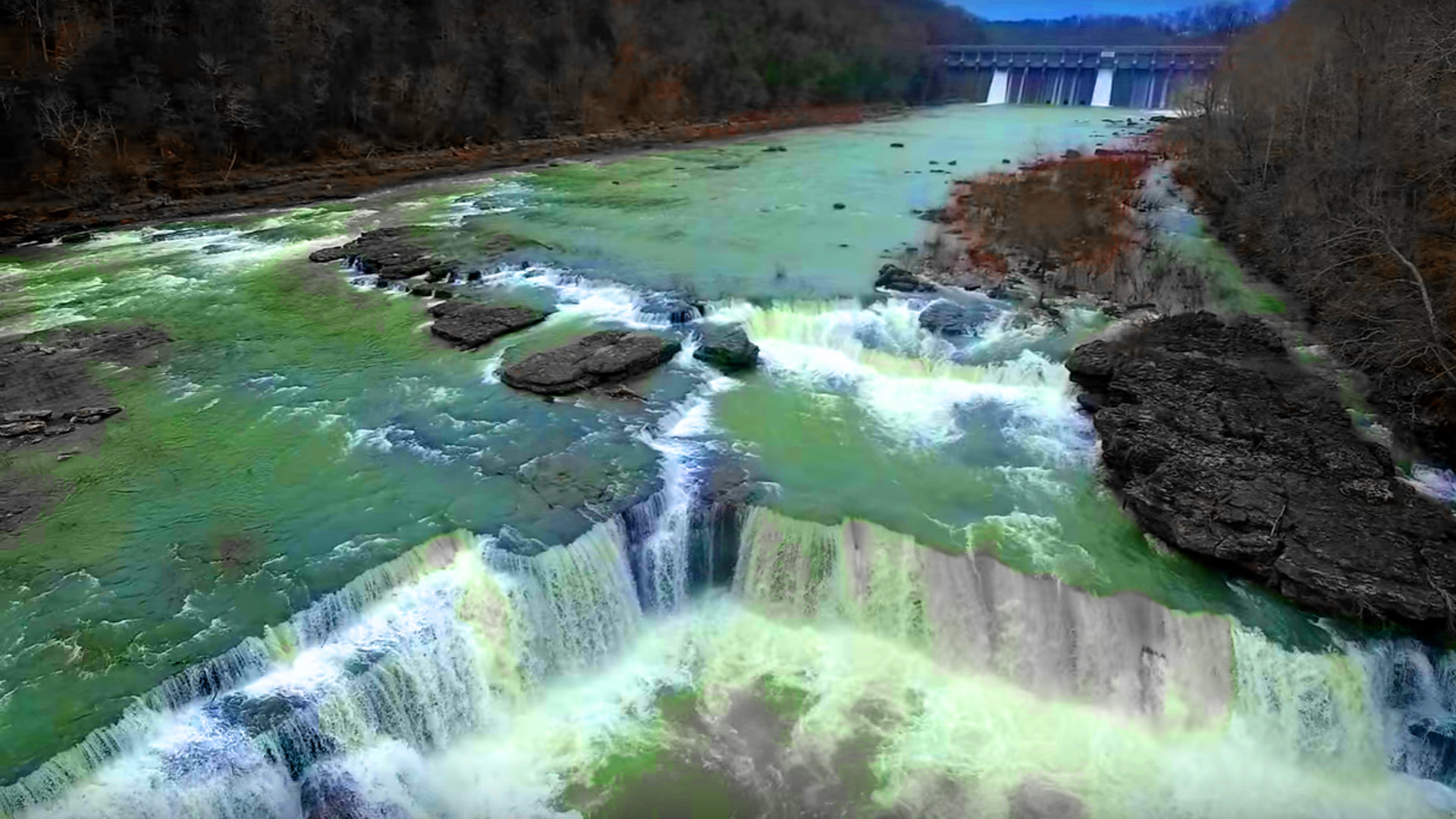 Fall Lock Screen Wallpaper Great Falls From The Air At Rock Island State Park