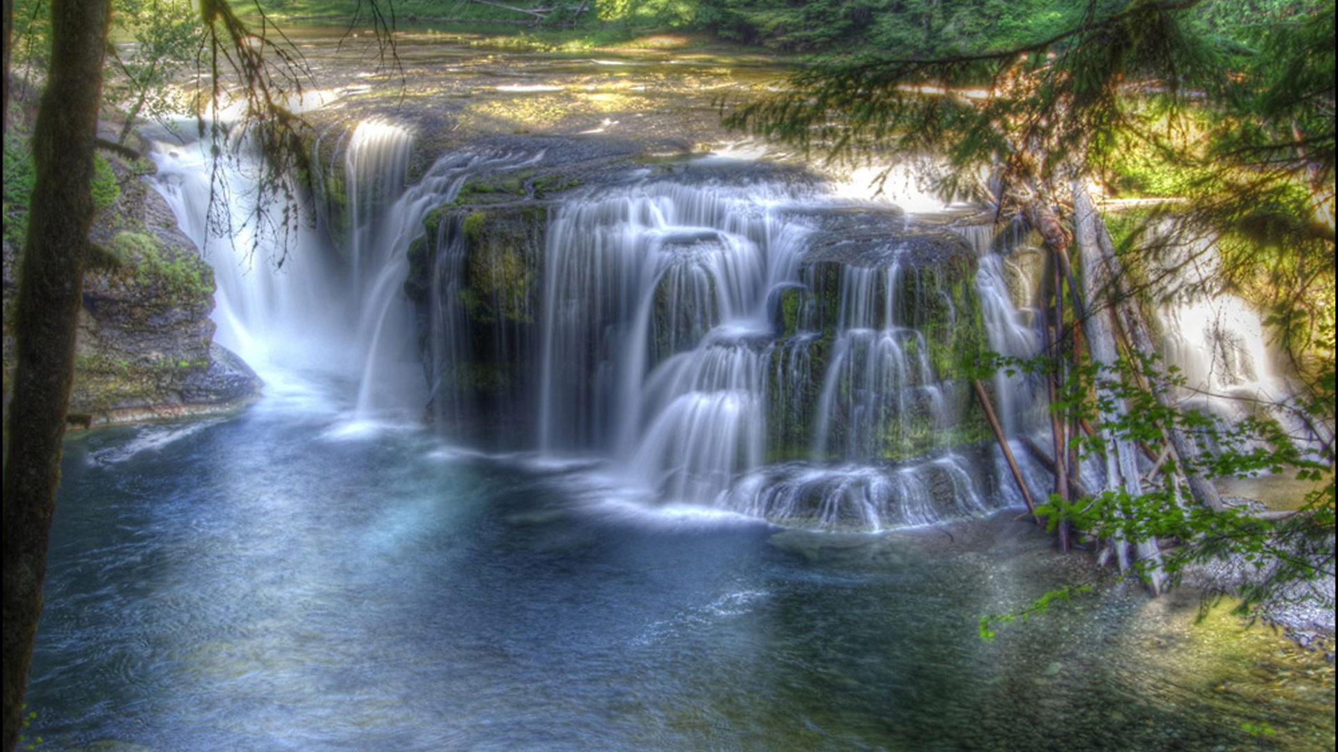 Waterfalls Desktop Wallpaper Forest Falls Lower Lewis River Falls Cascading Waterfall Flow Columbia