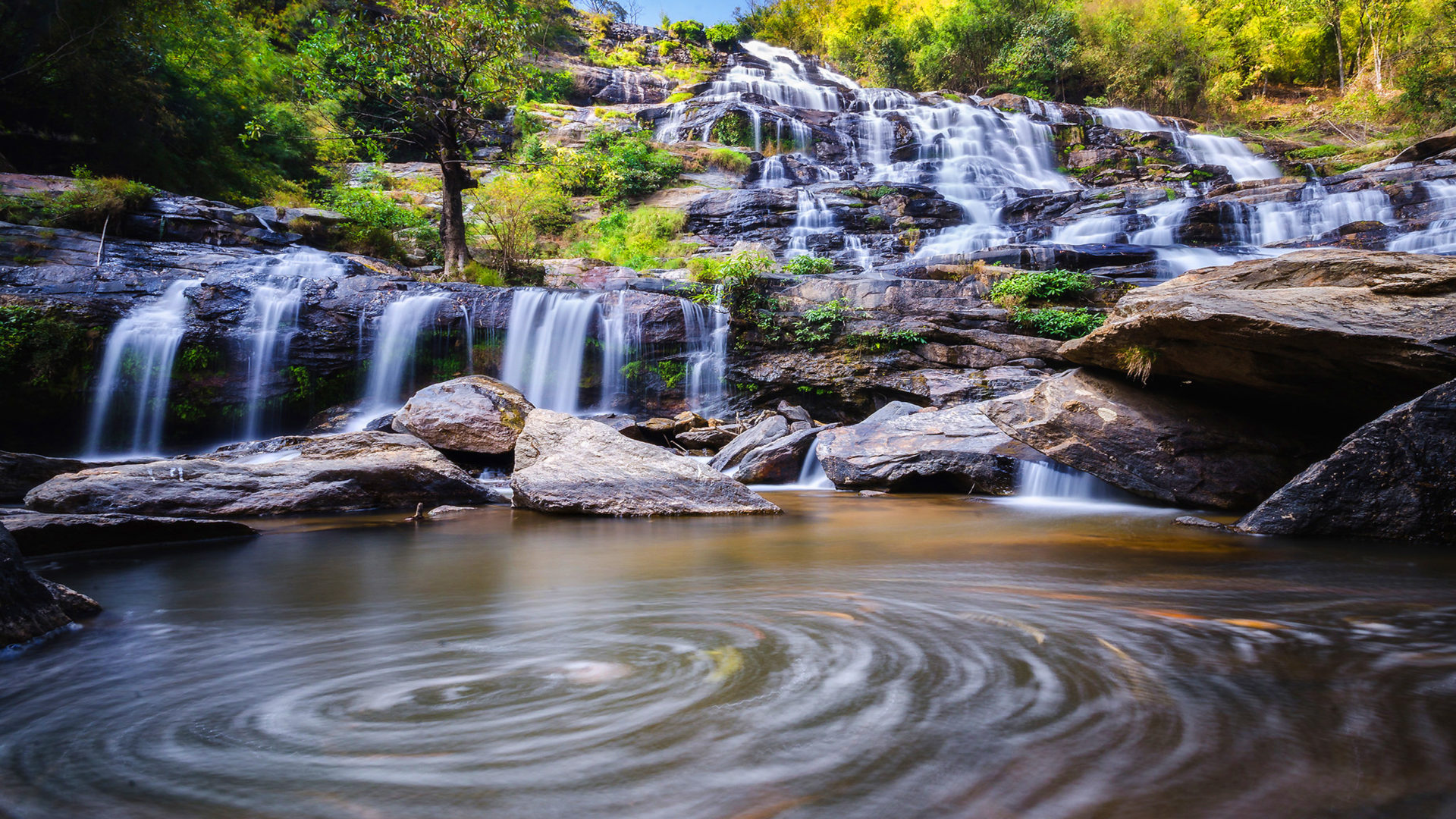 High Resolution Wallpaper Fall Mae Ya Waterfall Chiang Mai Thailand Desktop Hd