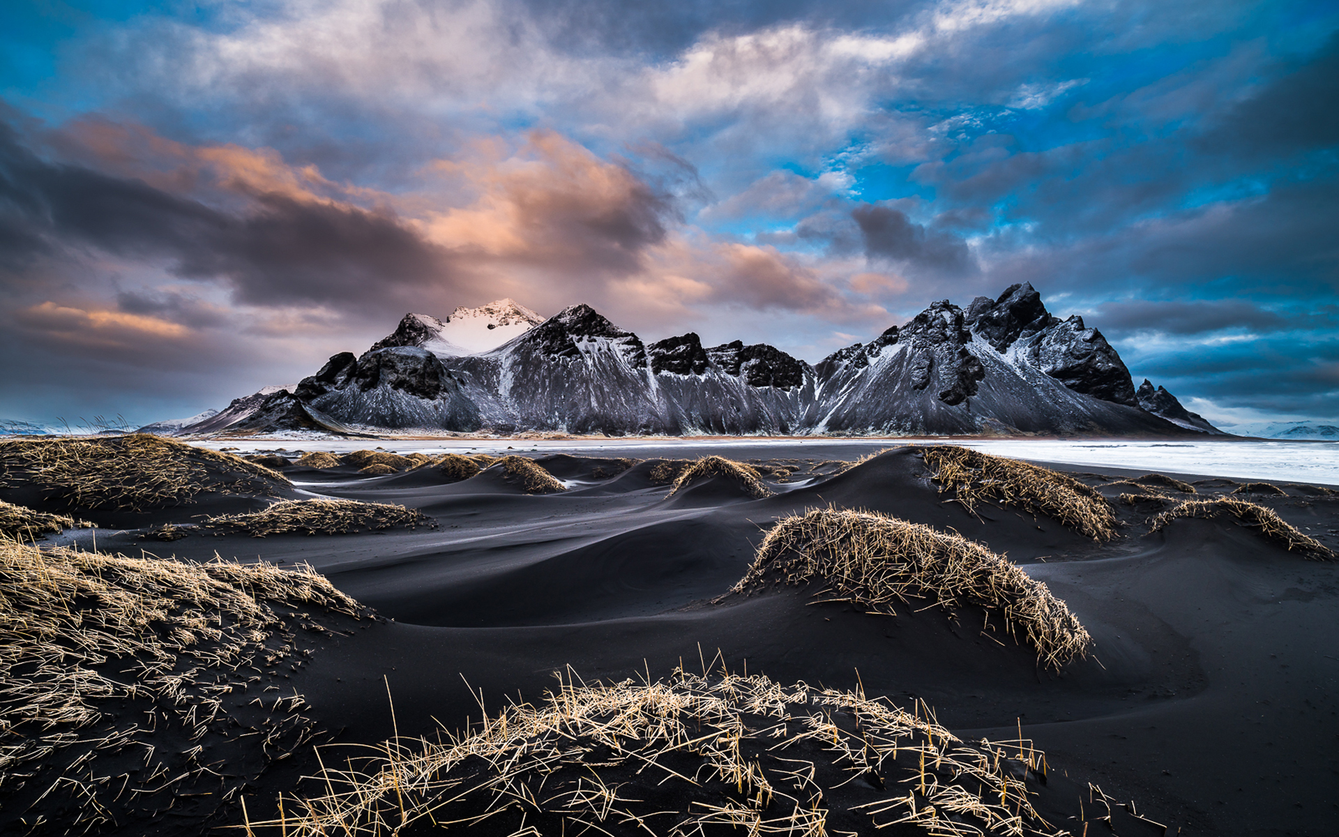 Iphone X Frame Wallpaper Vestrahorn Iceland Winter Landscape Snowy Mountains Coast