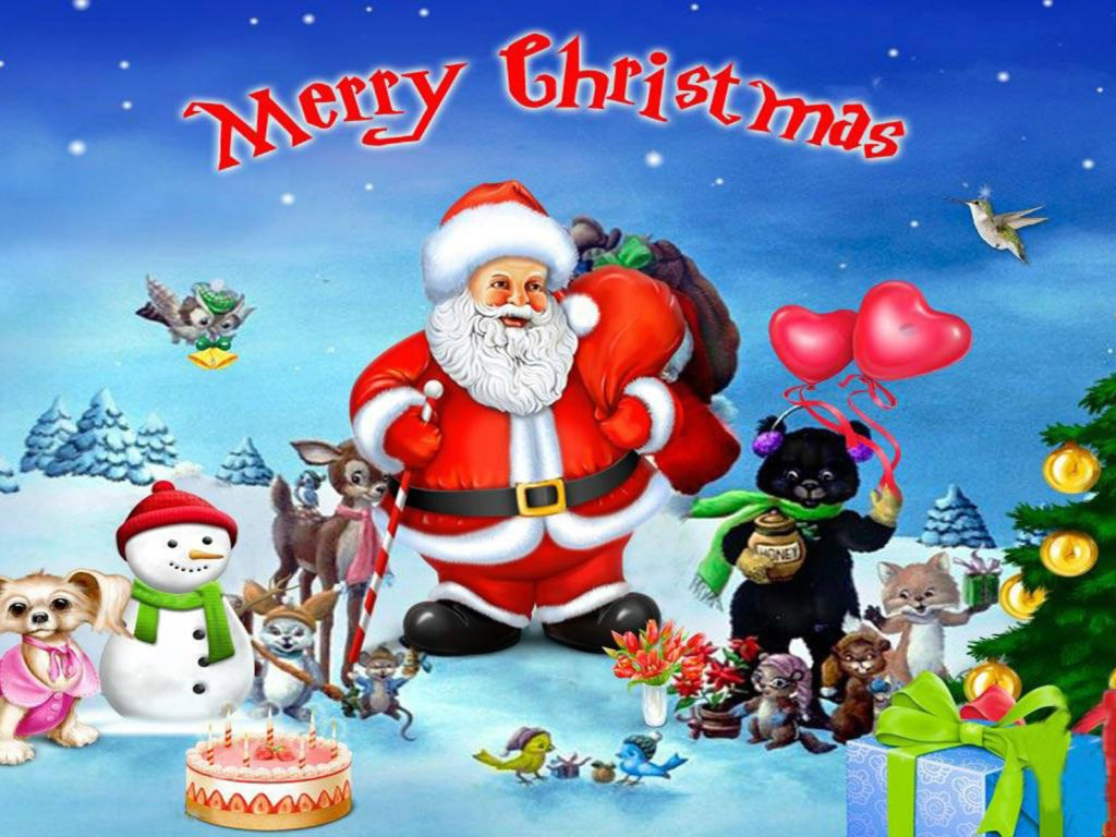 Merry Xmas 3d Wallpaper Merry Christmas With Santa Clause With His Merry Friends
