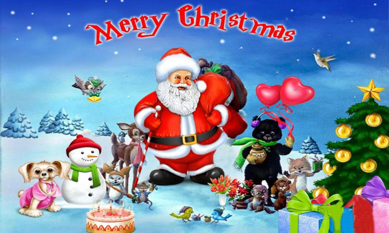 Lock Screen Wallpaper Iphone X Merry Christmas With Santa Clause With His Merry Friends