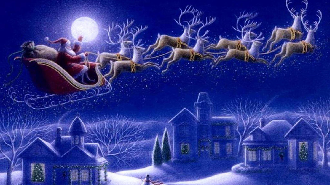 Christmas Desktop Wallpaper Animated Free Santa Claus Sleigh With Reindeer Greeting Card Wallpaper