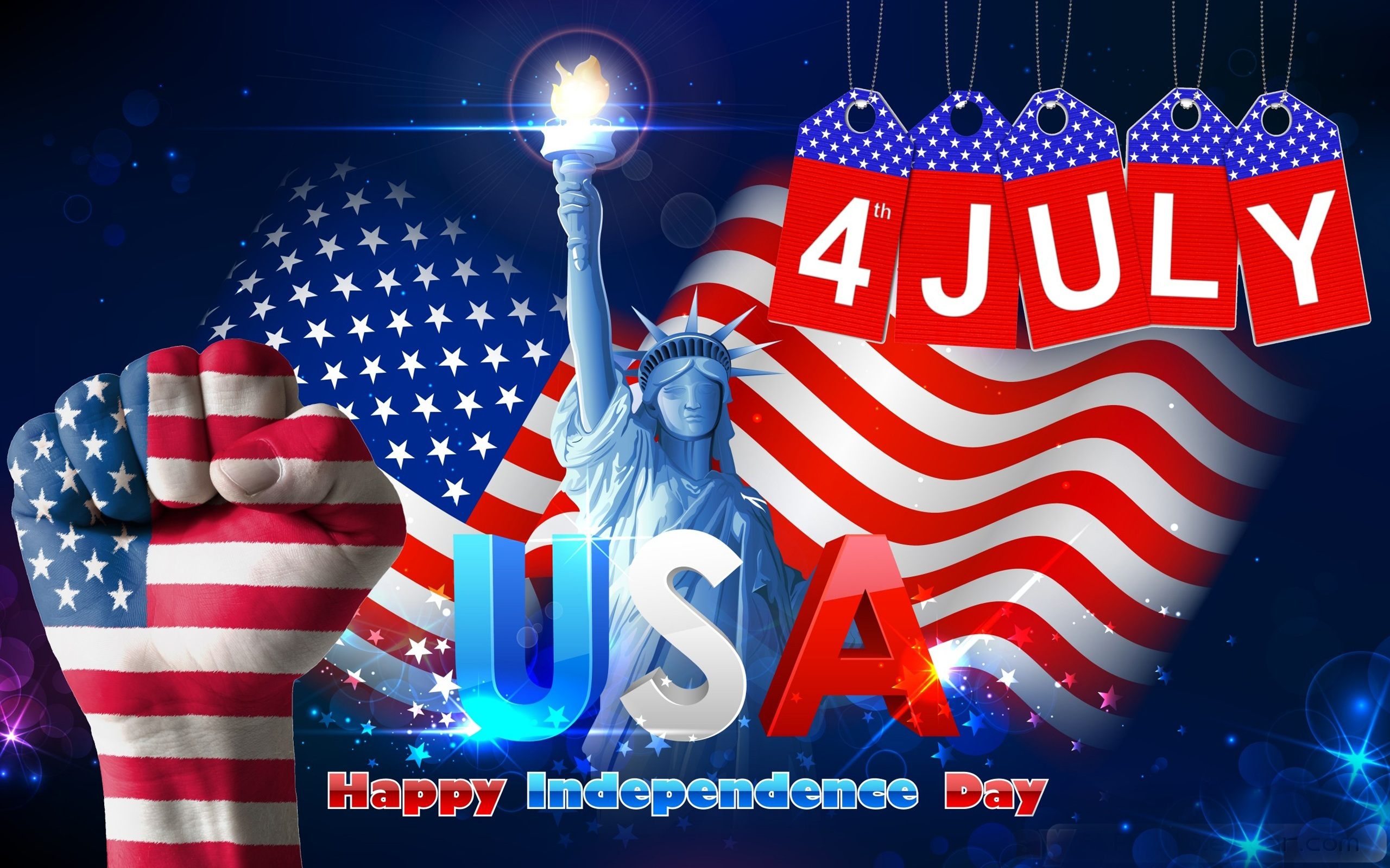Download New 3d Wallpapers For Pc 4 July Usa Independence Day Statue Of Liberty Wishes