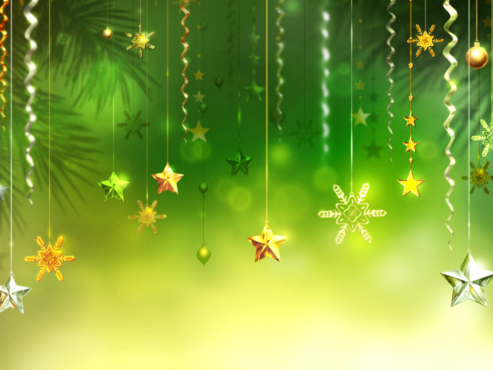 New Year Wishes Wallpapers With Quotes Christmas Green Background Stars Snowflakes Decorative