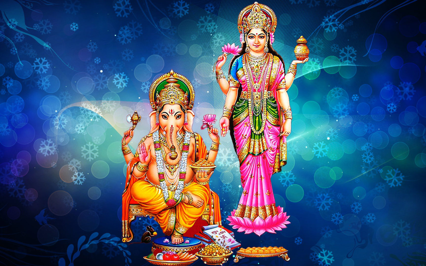 3d Wallpapers Lord Krishna Radha Goddess Laxmi And Lord Ganesh Blue Decorative Background