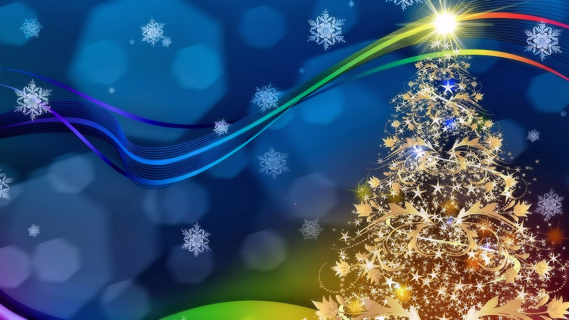 Free Xmas Wallpapers Animated Golden Christmas Tree Flakes Decorative Festive Hd