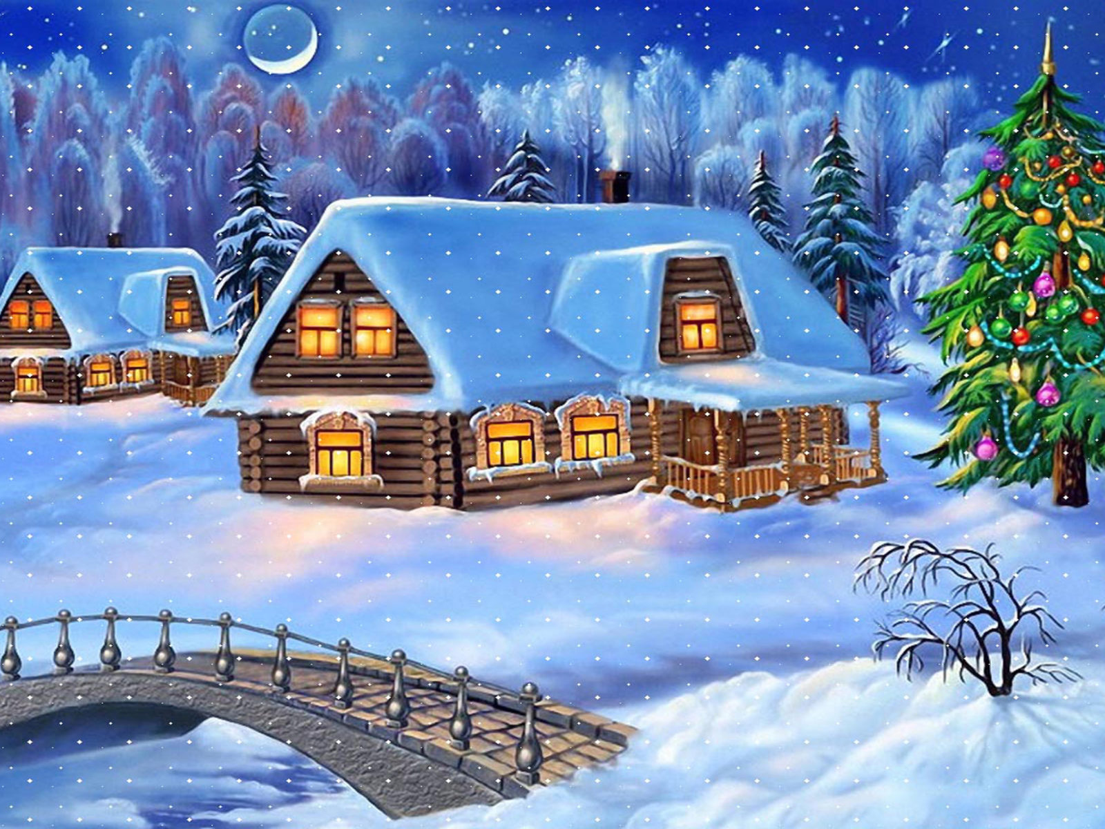 Girl Live Wallpaper Free Happy New Year Christmas Tree Winter Village Houses Wooden